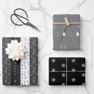 Christmas Deer Drawing Black and Grey Gift Wrapping Paper Sheets
