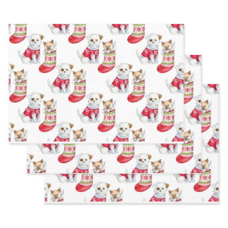 Christmas Dog & Cat Wrapping Paper Sheets