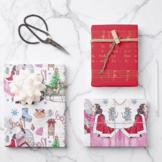 Christmas Fairy Tale Hand painted watercolor Wrapping Paper Sheets