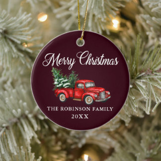 Christmas Family Name Watercolor Vintage Red Truck Ceramic Ornament