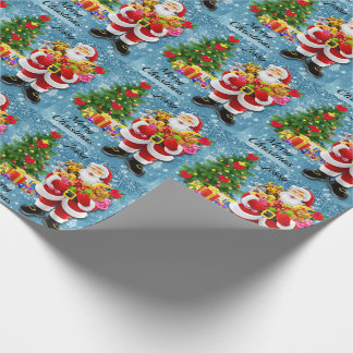 Christmas For Young Child Santa & Gifts Add Name Wrapping Paper