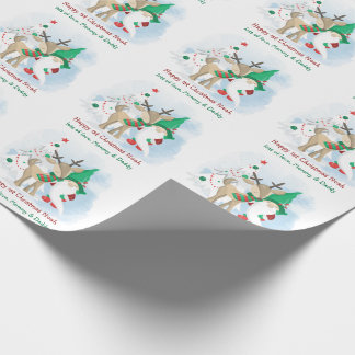 Christmas Gnome and Reindeer Cute Personalized Wrapping Paper