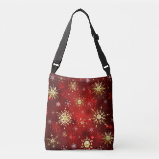 Christmas Golden Snowflakes on Red Background Crossbody Bag