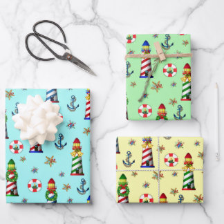 Christmas Lighthouses Nautical Wrapping Paper Sheets