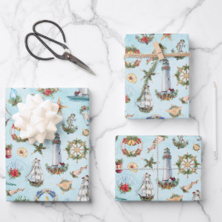 Christmas Nautical Sailing Ships Lighthouses Ocean Wrapping Paper Sheets