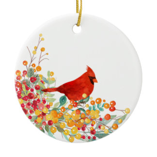 Christmas ornament with red cardinal and berries