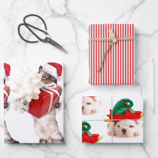 CHRISTMAS PETS Wrapping Paper Flat Sheet Set of 3