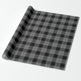 Christmas Plaid Black and White Wrapping Paper