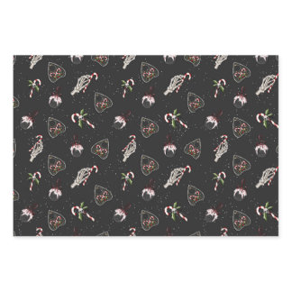 Christmas Planchette & Skeleton Hand Candy Cane Wrapping Paper Sheets