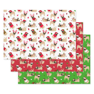 Christmas Pugs Wrapping Paper Sheets