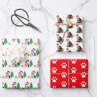 Christmas puppy dog, carol cat & paws on red wrapping paper sheets