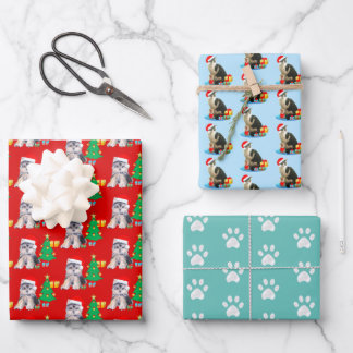 Christmas puppy dog, carol cat & paws wrapping paper sheets