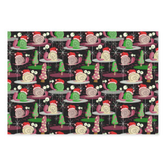 Christmas Santa Atomic Snails - MidCentury Modern Wrapping Paper Sheets