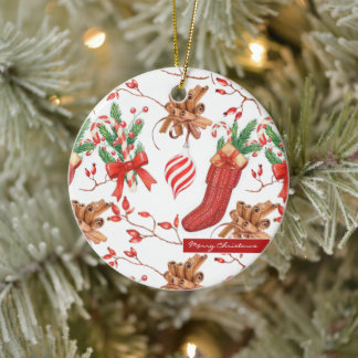 Christmas Scents Cinnamon and Peppermint Pattern Ceramic Ornament