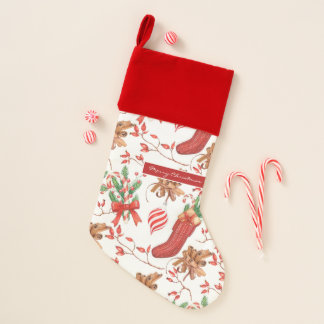 Christmas Scents Cinnamon and Peppermint Pattern Christmas Stocking