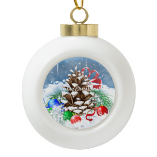 Christmas Snow Pinecone and Ornaments