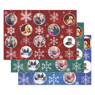 Christmas Snowflakes 10 Family Photos Template Wrapping Paper Sheets