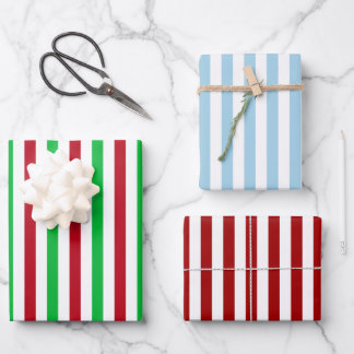 Christmas Stripe Bundle Wrapping Paper Sheets
