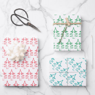 Christmas Tree Pattern In Red, Blue, Green Wrapping Paper Sheets