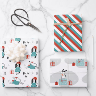 Christmas Whimsical Cartoon Dogs Wrapping Paper Sheets