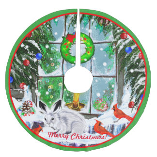 Christmas Window with Rabbit, Cardinals and Snow Brushed Polyester Tree Skirt