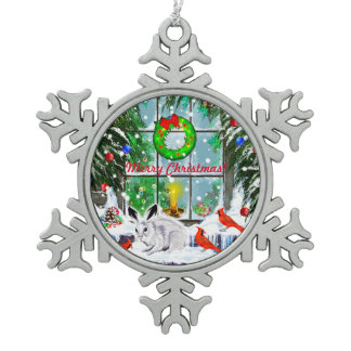 Christmas Window with Rabbit, Cardinals and Snow Snowflake Pewter Christmas Ornament