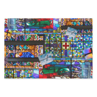 Churches Stained Glass and Crosses Wrapping Paper Sheets