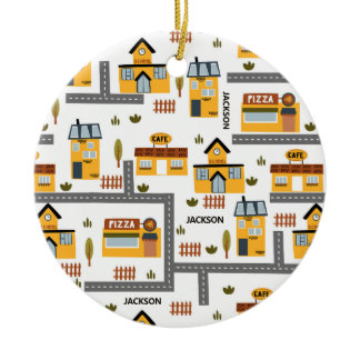 City Road Map Pattern for Kids Christmas Ceramic Ornament