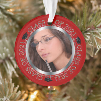 Class of 2021 Graduation Photo Red | Silver Ornament