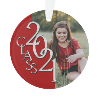 Class of 2021 Red and Silver with Photo Ornament