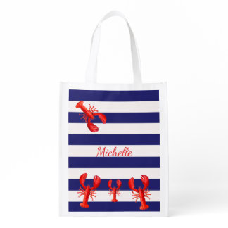 Classic blue white stripes with red lobsters name grocery bag
