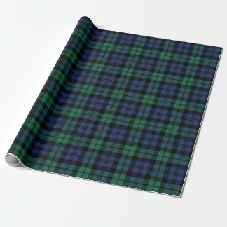Classic Green and Blue Black Watch Plaid Holiday Wrapping Paper