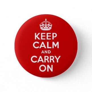 Classic Red and White Keep Calm and Carry On Button