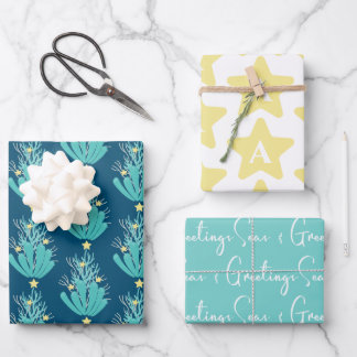 Coastal Seas and Greetings Coral With Initial Wrapping Paper Sheets