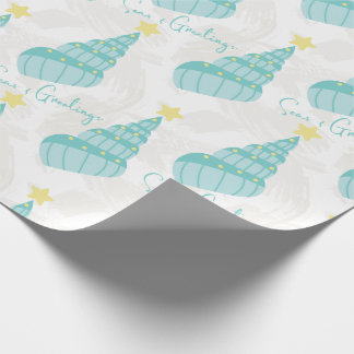 Coastal Seas and Greetings Shell Tree  Wrapping Paper