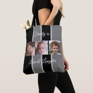 Collage add your own custom photos black and grey tote bag
