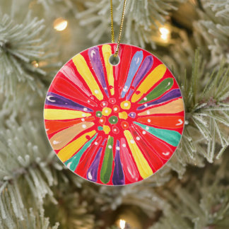 Colorful 2020 or Year Christmas Daisy Flower Red Ceramic Ornament
