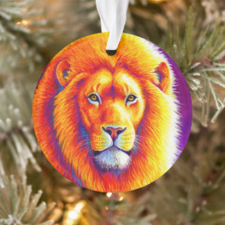 Colorful African Lion Acrylic Ornament