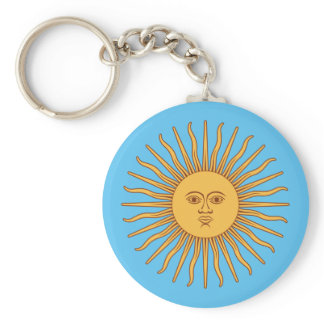 Colorful Blue and Yellow Smiling Sun of May Keychain