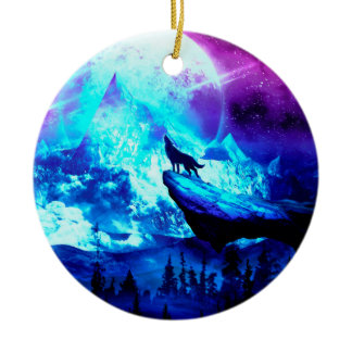 Colorful wolf howling ceramic ornament
