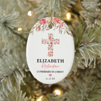 Confirmation Gift | Pink Floral Cross Ceramic Ornament