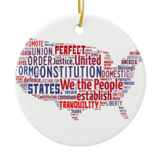 Constitution of the United States in Shape of USA Ceramic Ornament