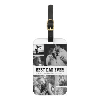 Cool Best Dad Ever Black and White Photo Collage Luggage Tag