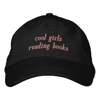 cool girls reading books embroidered hat