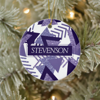 Cool Purple Passion | 90s Abstract Pattern Custom Ceramic Ornament
