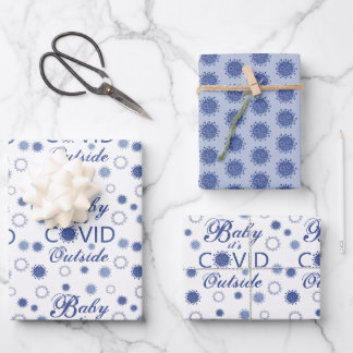 Corona Virus BABY ITS COVID OUTSIDE Blue Wrapping Paper Sheets