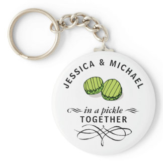 Couples' In a Pickle Together Personalized Keychain