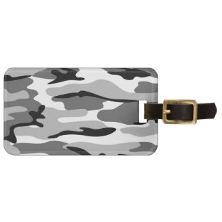 Custom Gray And Black Camouflage Luggage Tag