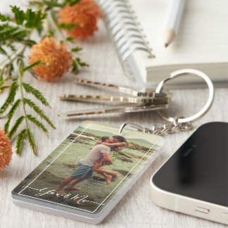 Custom Personalized Photo Template Love Quote Text Keychain