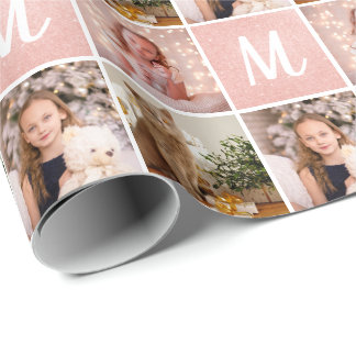Custom Photo Collage Monogram Christmas Rose Gold Wrapping Paper